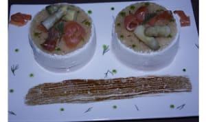 Mousse surprise aux saumon fumé et aux asperges
