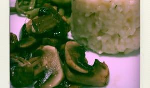 Riz au citron et champignons poêlés