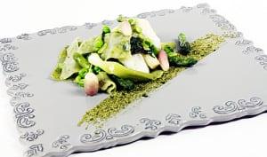 Pasta à l'ail des ours, légumes verts et coeur de cabillaud