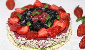 Entremet aux fruits rouges et pistache