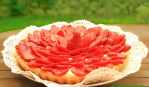 Tarte aux fraises, ganache et frangipane