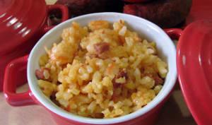 Risotto au chorizo, tomates et crevettes