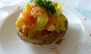 Champignons farcis aux courgettes, brocolis et à la coriandre
