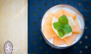 Verrine de concombre, melon et parmesan