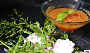 Soupe froide de melon au basilic