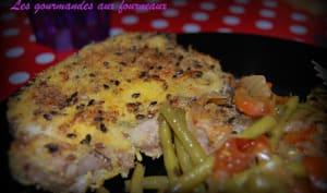 Côte de porc en croûte de polenta et graines de lin brun