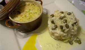 Raie en sauce au beurre, câpres, échalotes et vinaigre aromatisé à la mangue