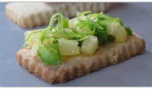 sablé au citron vert avec sa compotée au poivron vert et ananas