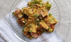 Omelette de poivron vert au jambon
