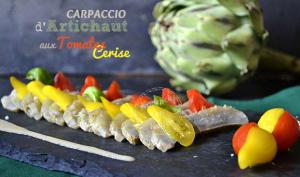 Carpaccio d'artichaut camus et tomates cerises