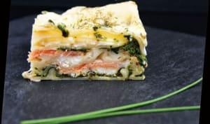Lasagne saumon fumé, épinards et chèvre