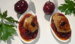 Brisures de foie gras au chutney de cerises