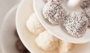 Truffes au chocolat blanc aux coques croquantes