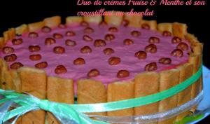 Duo de crème fraise et Menthe et son croustillant au chocolat