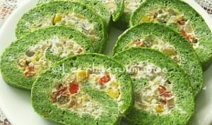 Roulé apéritif d'épinards aux fromage et champignons
