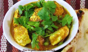 Curry de paneer aux pois verts