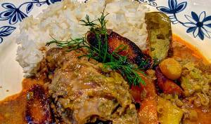 Curry de poulet aux carottes multicolores