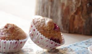 Muffins aux framboises, soja et vanille