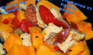 Poulet au chorizo, pimientos et patate douce