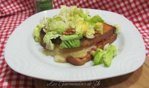 Croque-monsieur chèvre - jambon, basilic et noix