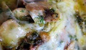 Des champignons à la parmesane avec de la fontina fondue