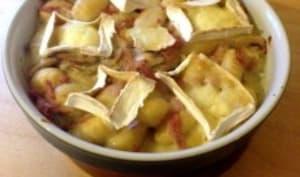 Gratin de gnocchi au jambon, champignons et caprice des Dieux