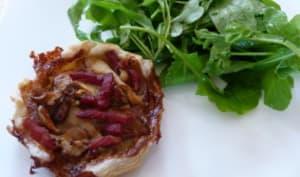 Tartelettes aux cèpes, roquefort et bacon