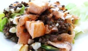 Salade de lentilles aux trois saumons