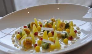 Une petite soupe de fruits exotiques au Rhum et Citron vert