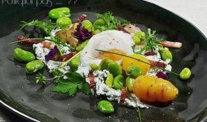 Salade fèves, ocas, chèvre, oeuf