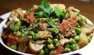 Poulet gourmand chorizo, champignons, petit pois & menthe