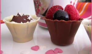 Bouchées chocolat et bouchées fruits rouges