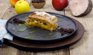 Millefeuille de pomme et de poire terre, crème anglaise au matcha