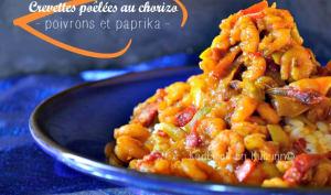 Crevettes poêlées au chorizo, poivrons, piment d'Espelette et paprika