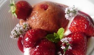 Sorbet à la fraise sans sorbetière,fromage blanc fouetté et coulis framboise