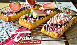 Tarte tatin madeleine aux fraises et chocolat blanc
