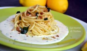 Spaghettis infusés aux écorces de citron et basilic, sauce crémeuse