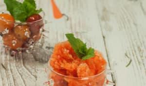 Granité de carottes - mangue et tomates confites