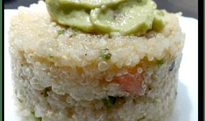 Taboulé de quinoa au Parmesan, mousse d' avocat