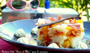 Tartare d'été terre et mer cabillaud et jambon bellota, douce vanille et crème de wasabi