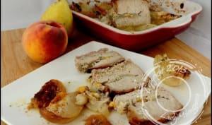 Rôti de porc farci aux pêches et poires