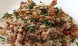 4 céréales au jambon cru et sauce aux légumes