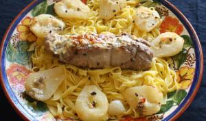 Filet mignon de porc aux poires et gorgonzola au mascarpone