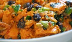 Curry de poulet à la citrouille, aux patates douces, carottes, coco