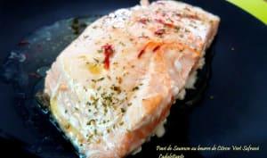 Pavé de saumon au beurre de citron vert safrané