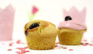 Muffin ou cupcake pistache et cerises amarena