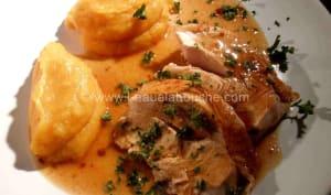 Dinde Rôtie avec son Jus & Purée de Patate Douce