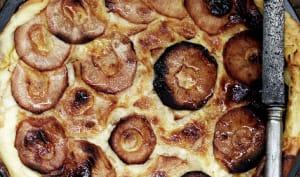 Flognarde aux pommes, flambée au Calvados