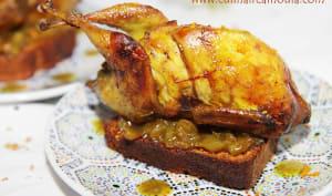 Cailles farcis au foie gras, marron et sa sauce de dattes confites