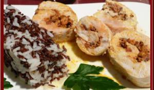 Roulé de dinde au riz sauvage et crème de chorizo